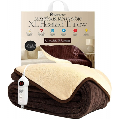 Homefront Luxury Reversible Chocolate & Cream Heated Electric Throw